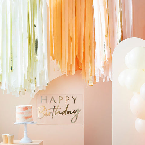 Peach and Gold Streamer Ceiling Decoration