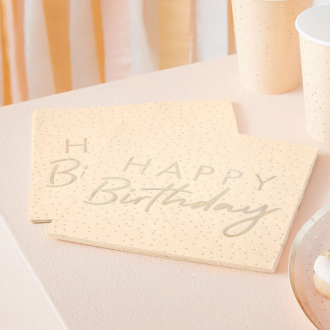 Peach and Gold Happy Birthday Paper Napkins