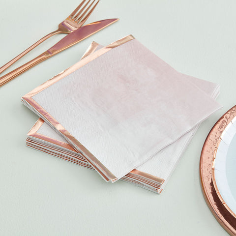 Pink Watercolour and Rose Gold Napkins