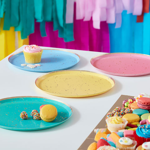 Gold Flecked Brights Rainbow Party Plates