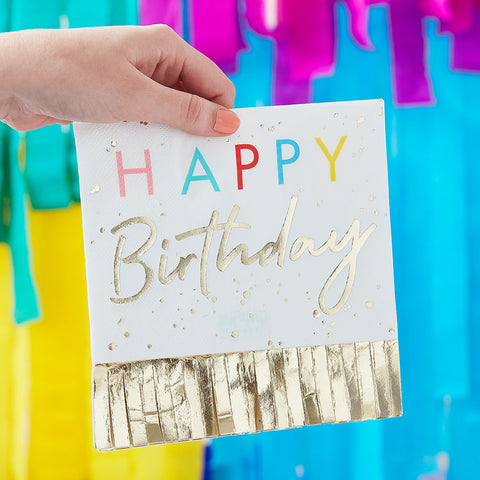 Happy Birthday Fringed Gold Napkins