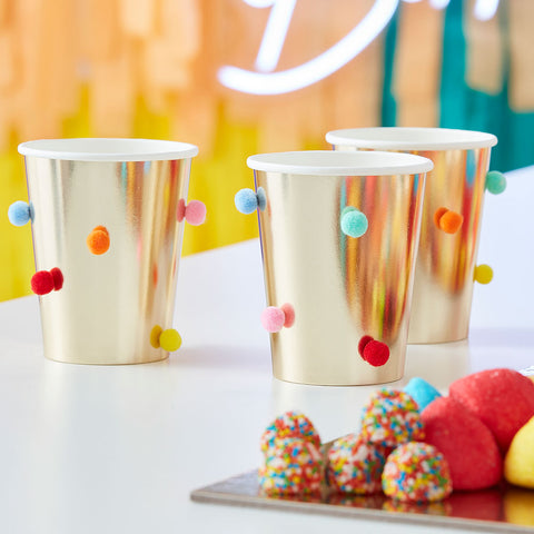 Rainbow Pom Pom Gold Paper Party Cups