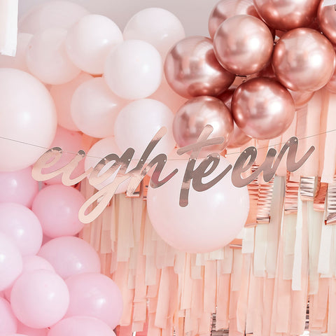 Rose Gold Eighteen 18th Birthday Banner