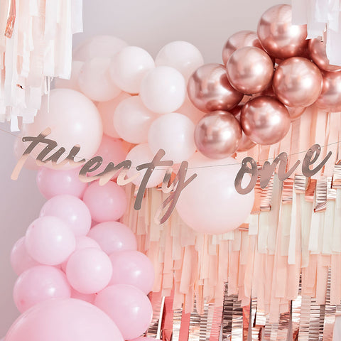 Rose Gold Twenty One 21st Birthday Banner