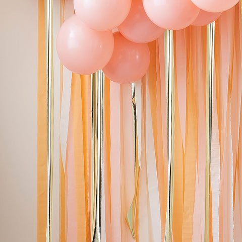 Gold and Peach Streamer Party Backdrop