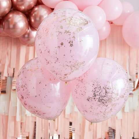 Double Layered Pink and Rose Gold Confetti Balloons