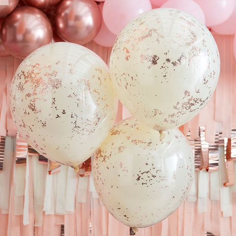 Double Layered Cream and Rose Gold Confetti Balloons