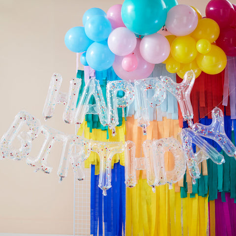 Rainbow Confetti Happy Birthday Balloon Bunting