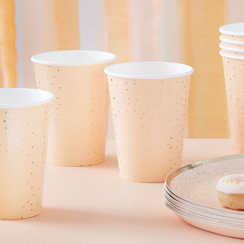Peach and Gold Polka Dot Paper Cups