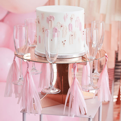 Rose Gold Cake Stand With Drink Holders