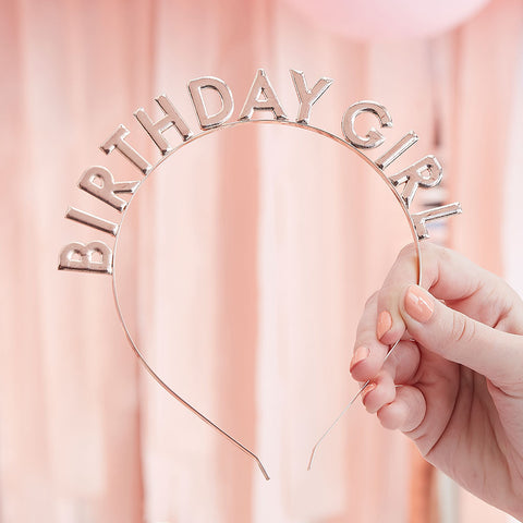 Rose Gold Birthday Girl Headband