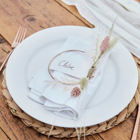 Rose Gold Metal Hoop Place Card Holders