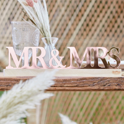 Rose Gold Acrylic Mr and Mrs Sign