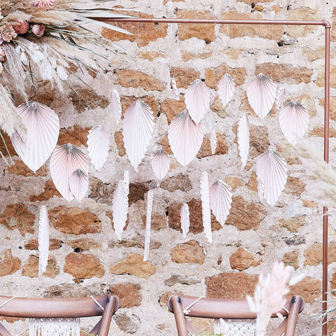 Pink Palm Paper Fan Backdrop