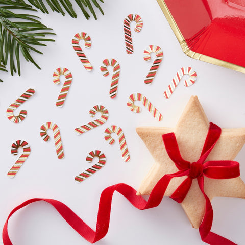 Red & Gold Candy Cane Christmas Confetti