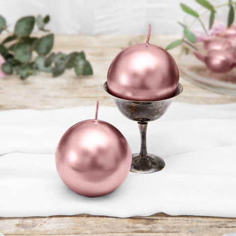 Metallic Rose Gold Sphere Candles