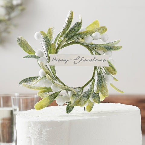 Christmas Mistletoe Cake Topper