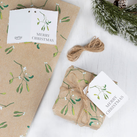 Christmas Wrapping Paper With Twine and Tag