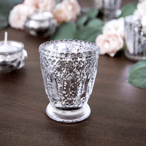 Silver Glass Candle Holder 8cm