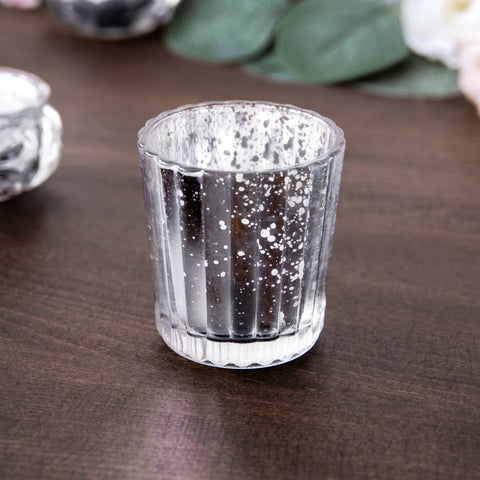 Silver Glass Candle Holder 6cm