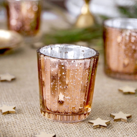 Rose Gold Glass Candle Holder 6cm