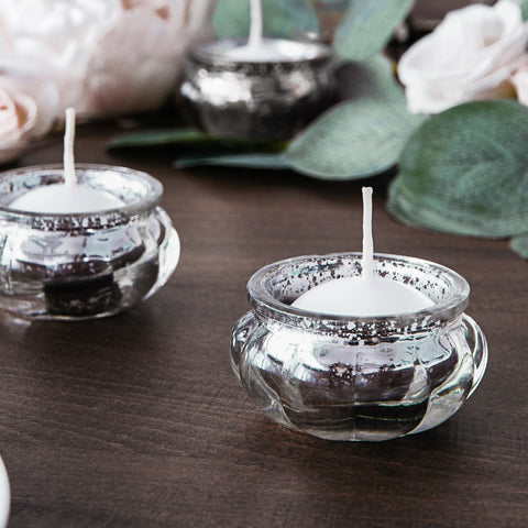 Silver Glass Candle Holder 3cm