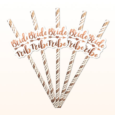 Bride Tribe Rose Gold Straws