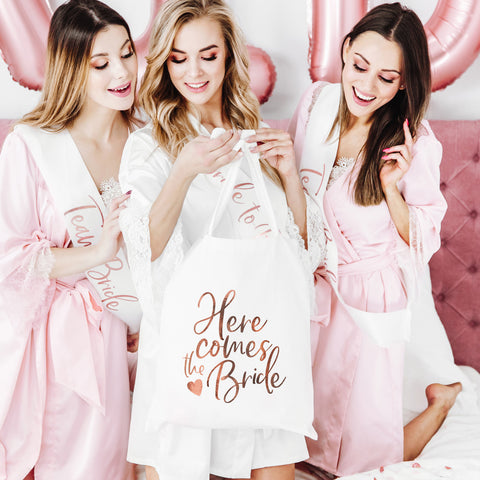 Rose Gold Here Comes the Bride Tote bag