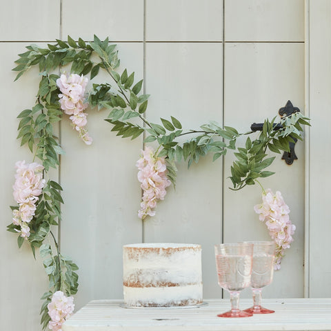 Blush Pink and Green Wisteria Foliage Garland
