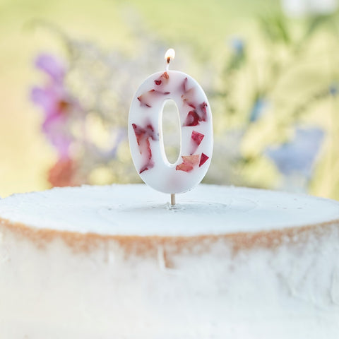 Pressed Petal Number 0 Birthday Cake Candle