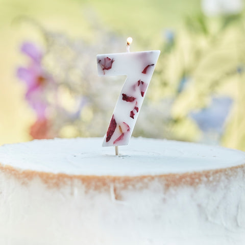 Pressed Petal Number 7 Birthday Cake Candle