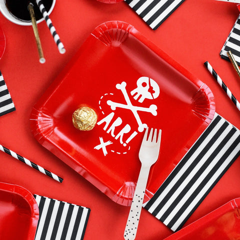Red Pirates Party Plates