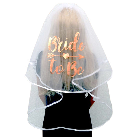 Rose Gold Bride to Be Printed Veil