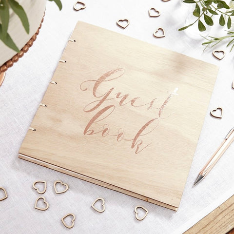 Rose Gold Wooden Guest Book - Ginger Ray - Party Touches