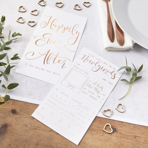 Rose Gold Foiled Advice for the Newlyweds Cards - Ginger Ray - Party Touches