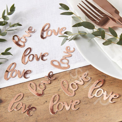Rose Gold Foiled Love Confetti - Ginger Ray - Party Touches