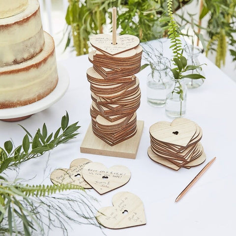 Wooden Stacking Heart Wedding Guest Book Alternative - Ginger Ray - Party Touches