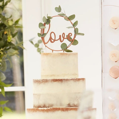 Love Script Rose Gold Wedding Cake Topper - Ginger Ray - Party Touches