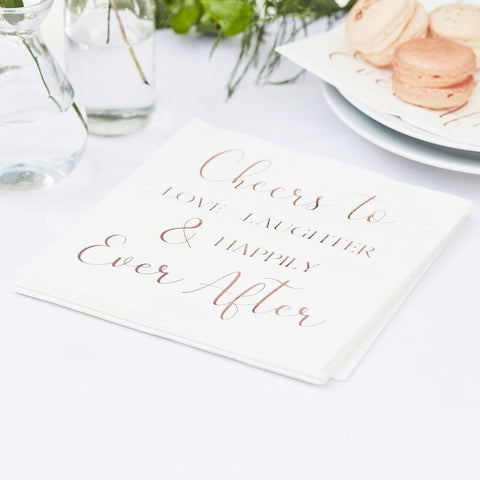 Happily Ever After Paper Wedding Napkins - Ginger Ray - Party Touches