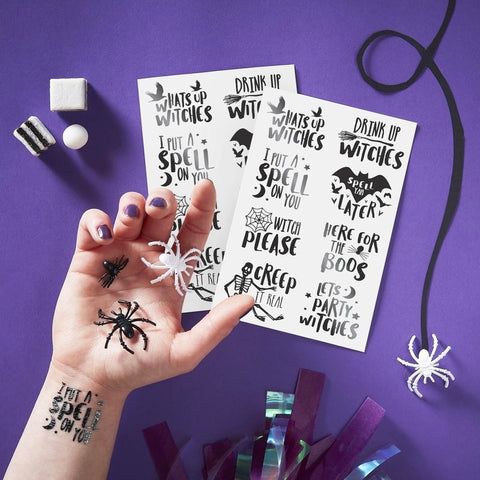 Black Foiled Temporary Tattoos - Ginger Ray - Party Touches