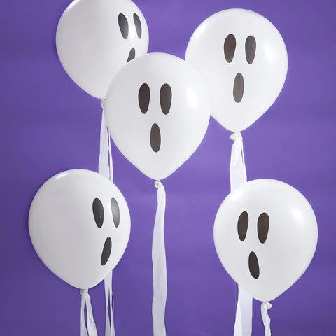White Ghost Balloons With Streamers - Ginger Ray - Party Touches