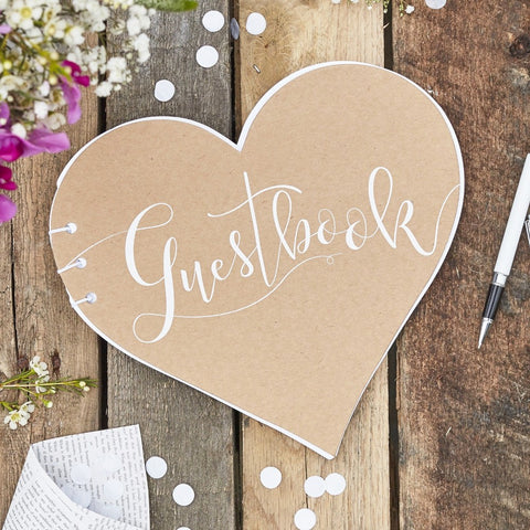 Heart Shaped Kraft Guest Book - Ginger Ray - Party Touches
