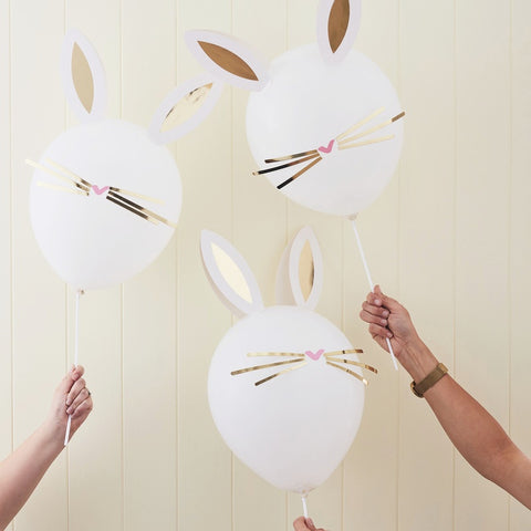 White Balloons With Gold Foiled Stick on Whiskers and Ears - Ginger Ray - Party Touches