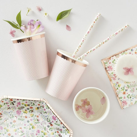 Rose Gold Foiled Polka Dot Paper Cups - Ginger Ray - Party Touches
