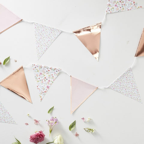 Rose Gold Foiled Floral Print Bunting - Ginger Ray - Party Touches