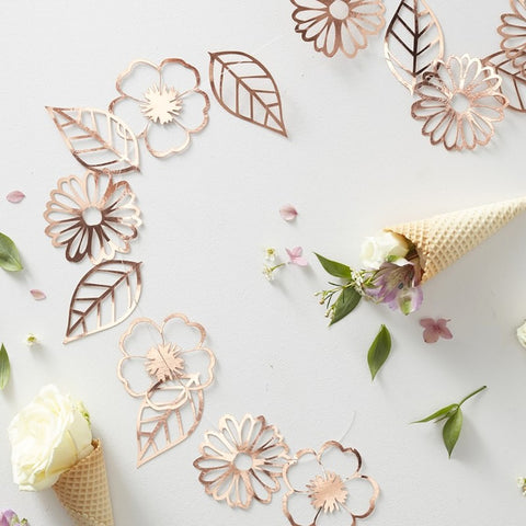 Rose Gold Foiled Flower Garland - Ginger Ray - Party Touches