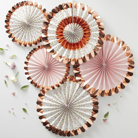 Rose Gold Foiled Floral Fan Decorations - Ginger Ray - Party Touches