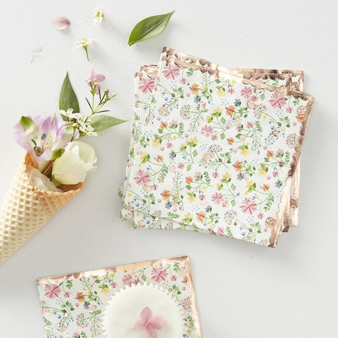 Rose Gold Foiled Floral Paper Napkins - Ginger Ray - Party Touches