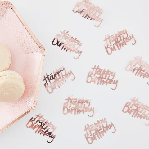 Rose Gold Happy Birthday Table Confetti - Ginger Ray - Party Touches