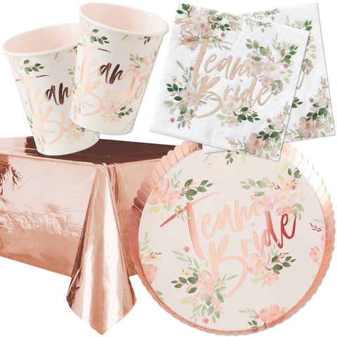 Rose Gold Floral Hen Party Tableware Bundle - 8 Guests - Ginger Ray - Party Touches